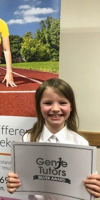 This is Maisie at Genie Tutors Redditch! She has been working very hard with her tutor, Gemma, at her English and maths. The silver award is a fabulous achievement. ???