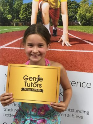 A gold for Ella at Genie Tutors Reditch! She deserves all the accolades she gets because she her confidence in her own ability has improved vastly. She is even feeling a lot more confident about maths - brilliant news!