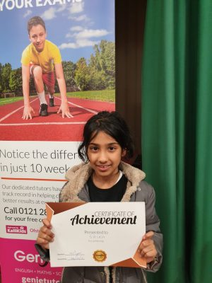 Congratulation to Srika on her achievement! Keep up the great work with your tutors at Genie Tutors Harborne!
