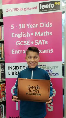 Kai received his first Bronze reward after achieving a good progress at Genie Tutors King's Heath! Keep up the hard work! Congratulations!