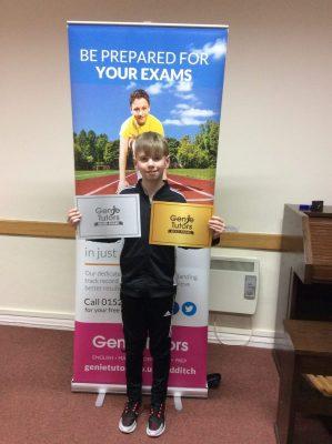 This is Kelby who has been working very hard towards his 11+ exam at Genie Tutors Redditch. He achieved his Gold award recently due to his fantastic progress. Keep up the great work Kelby.