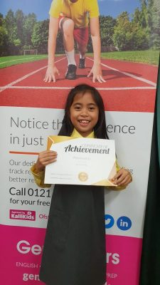 Congratulation to Chiara on her new reward! Chiara works hard with her tutor Rukhsana at Genie Tutors Harborne!